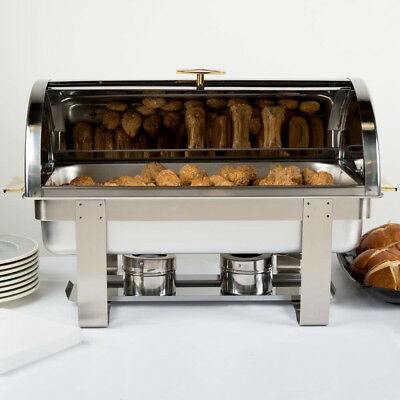 Stainless Steel Choice Deluxe 8 Qt. Full Size Roll Top Buffet Catering Chafer