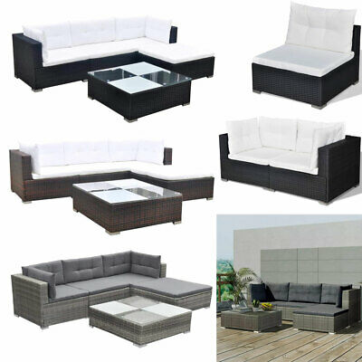 Poly Rattan Garden Lounge Set Outdoor Furniture Corner Sofa Set with Cushions