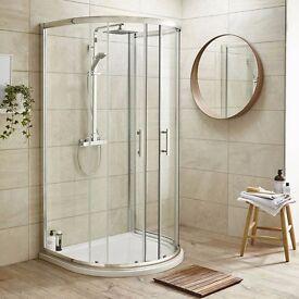D-Shape Shower Enclosure Inc. Shower Tray + Waste