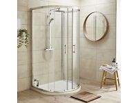 D-Shape Shower Enclosure Inc. Shower Tray + Waste