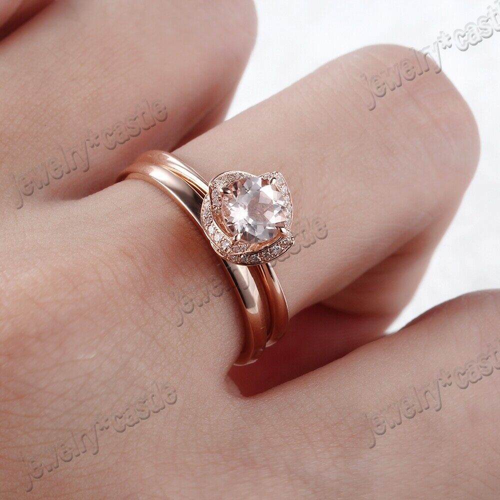 Sale 18K Rose Gold Round Cut Morganite Diamond Jewelry Ring Sets ...