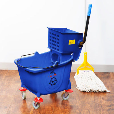 Blue 36 Quart Plastic Mop Bucket With Wheels Side-press Wringer Combo