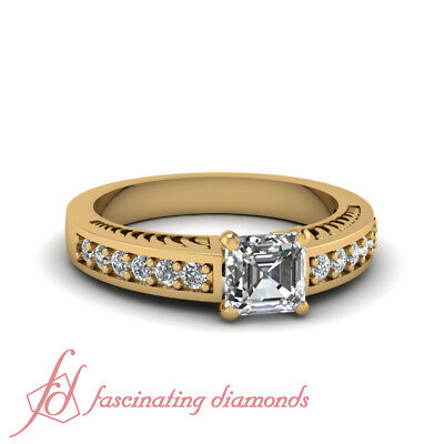 1 Ct Asscher And Round Diamonds Thick Band Womens Wedding Rings Engraved GIA
