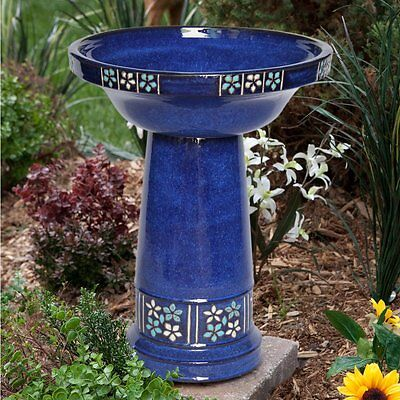 Smart Solar Ceramic Solar Bird Bath, Blue