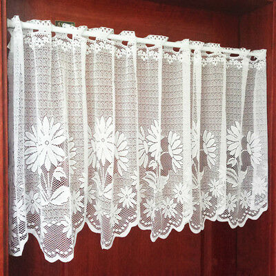 Lace Window Curtains (Embroidery Curtain Home Kitchen Cafe Lace Valance Window Sheer Voile Short)