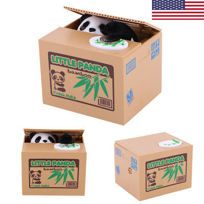 Cute Stealing Coin Money Box Panda Bank Piggy Penny Cents Saving For Child Gift