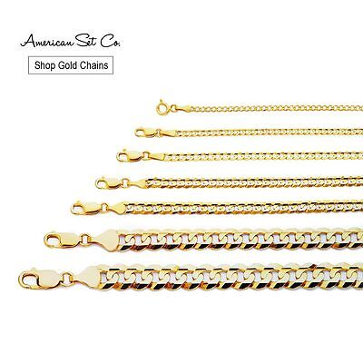 14K Yellow Gold Chain Cuban Curb Solid Necklace Pendant Genuine Concave