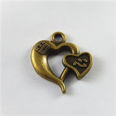 40 pcs Pack Bronze Metal Love Heart Shape Charm Chinese Word Engraved Pendant