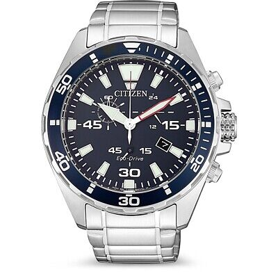 CITIZEN AT2431-87L Eco-Drive Marine Chronograph Stainless Steel Mens Sport Watch