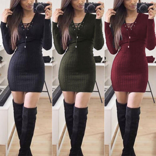 Dress - ISASSY Womens Ladies Lace Sweater Bodycon Jumper Tunic Short Mini Dress