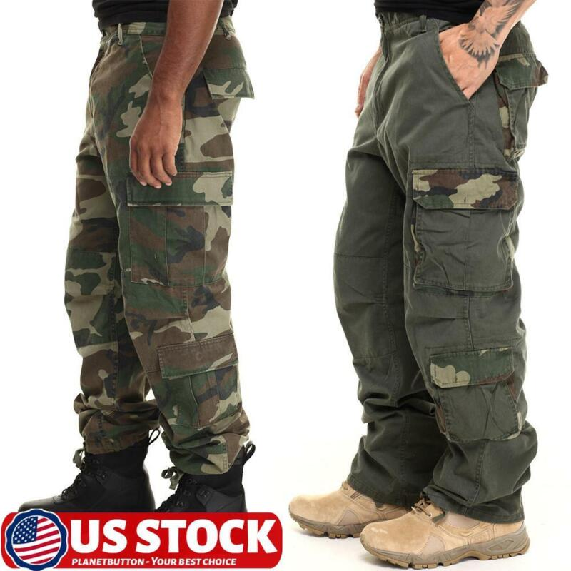 Mens Sport Army Military Cargo Combat Trousers Camo Multi-pocket Tactical Pants