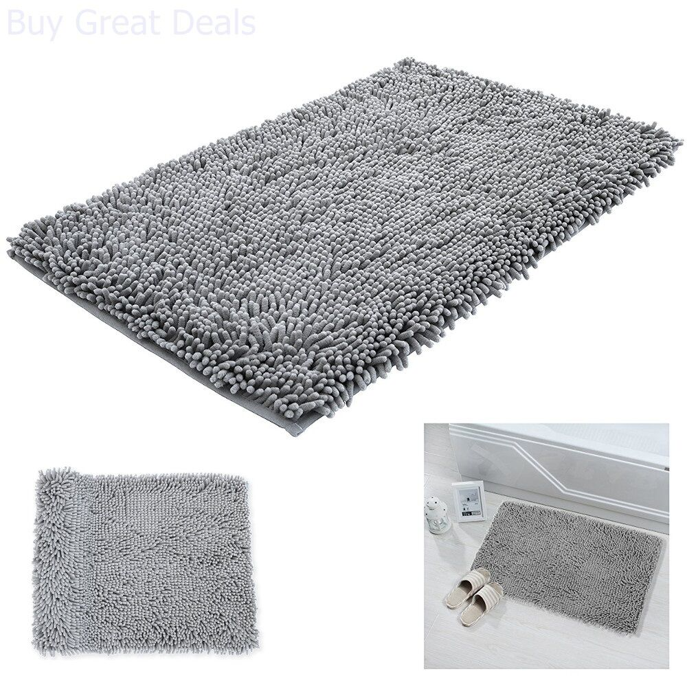 Details About Bathroom Mat Non Slip 20x32 Microfiber Super Soft Shag Pad Absorb Bath Floor Rug