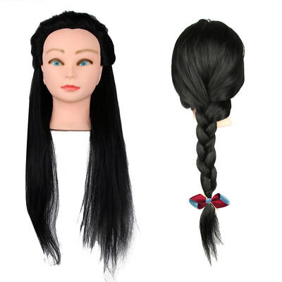 "18""100% Real Human Hair Hairdressing Practice Training Head Doll Mannequin Clamp"