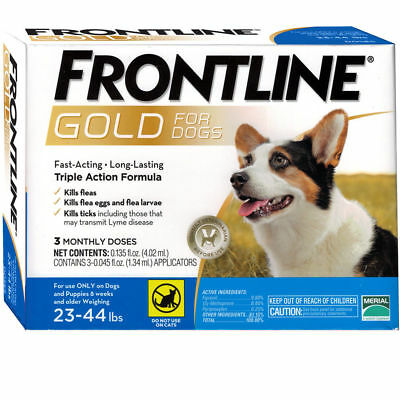 Frontline Gold For Dogs 23 To 44 Lbs 3 Doses Epa Approved     Free Shipping