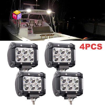 NEW Marine Boat Pontoon Bright LED Docking Spreader Spot Light 12V 24V 18W 4PCS