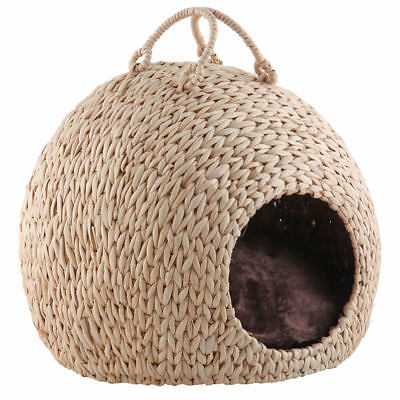 Wicker Cat Kitten Bed Basket Pet Sleeping House Pod Cave Cusion Small Dog Puppy
