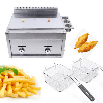 Countertop Gas Fryer Commercial Multifunctional Combined Fryer Stainless Steel