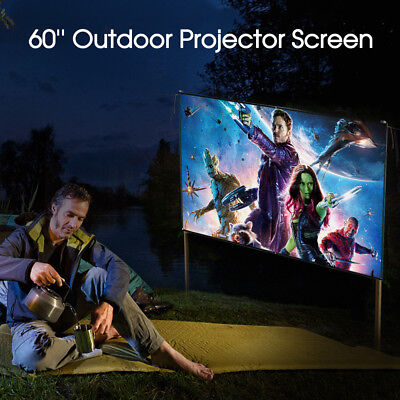 """60""""Inch Outdoor Projector Screen 16:9 Portable Matte White for Camping Movie US"""