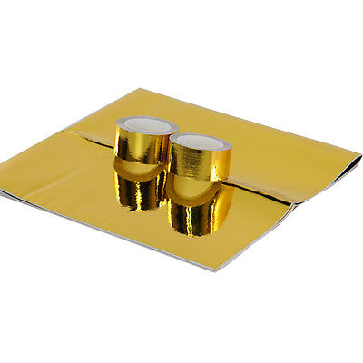 Hiwow1Piece REFLECTIVE GOLD HEAT SHIELD THERMAL RACING ENGINE 2 pieces Cool-Tape