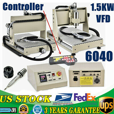 3axis 6040 Cnc Desktop Router Milling Engraving Cuting Machine Kit 15kw Vfd Rc