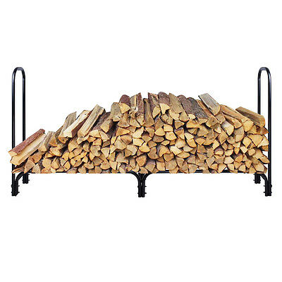 New 8 Feet Outdoor Heavy Duty Steel Firewood Log Rack Wood Storage Holder Black