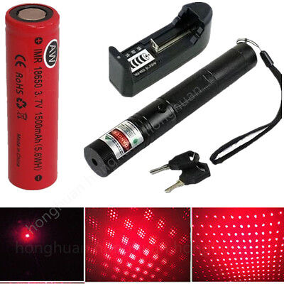 Military 303 Red 1mW 650NM Laser Pointer Pen Light Lazer Beam + Battery Charger