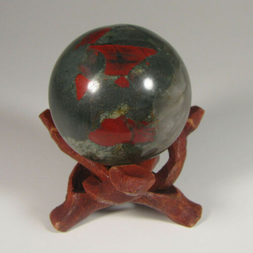 40mm BLOODSTONE Seftonite Gemstone Sphere Ball w/ Stand - South Africa