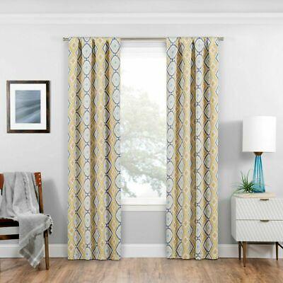"Eclipse Morrow Blackout Window Curtain Panel new 37x95"" Diamond Gold grey white"