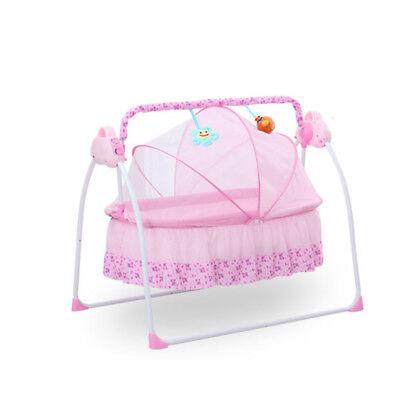 Pink Electric Baby Crib Cradle Auto Rocking Chair Newborns Bassinets Sleep Bed ()
