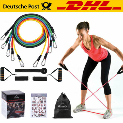 11tlg/Set Resistance Fitnessbänder Expander Tube Gymnastikband Yoga Latexband DE