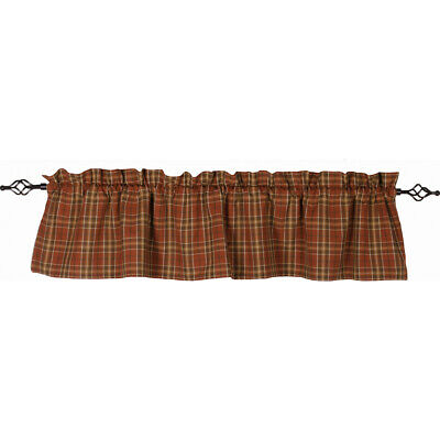 Home Collections by Raghu Iverness Plaid Valance Orange Brown Country Primitive
