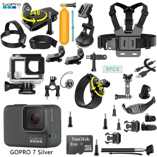 GoPro HERO 7 Silver Edition Touch-Screen Camera + 40 PCS Sports Accessory