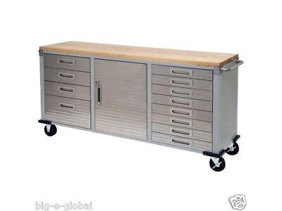 Garage Rolling Metal Inure Tool Box Storage Cabinet Wooden Workbench 12 Drawers