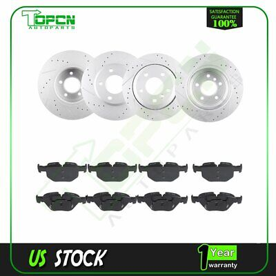 Front & Rear 4X Brake Discs Rotors and 8X Ceramic Pads For BMW 528i 2008 -