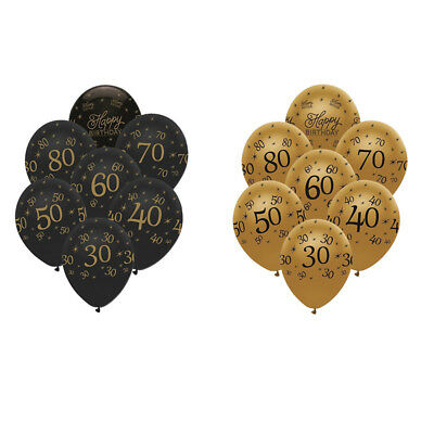 10X Happy Birthday Balloon 30 40 50 Anniversary Decor Supplies Latex Balloons  - Anniversary Supplies