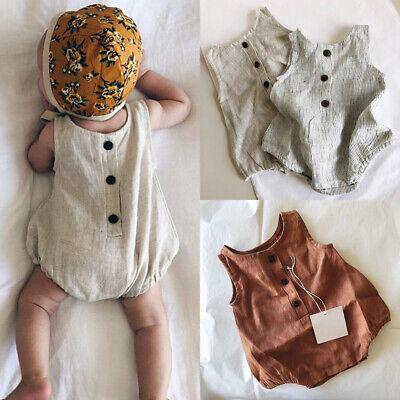 US Newborn Baby Girls Boys Summer Clothes Cotton&linen Romper Bodysuit Outfits