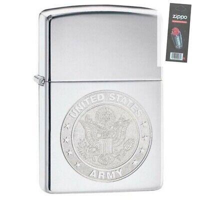 Zippo 29886 United States Army Seal Polish Chrome Finish Lighter + FLINT PACK