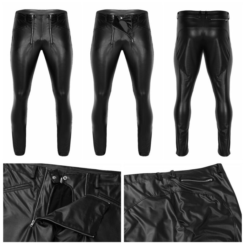 8c397892a1f Men Faux Leather Wet Look Tight Pants Long Trousers with Zipper Pouch  UnderpantsUSD 4.5 · Sexy Men s Shiny Patent ...