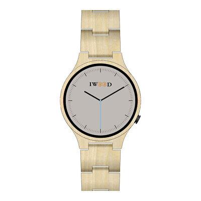 Iwood Echtholz Herrenuhr Armbanduhr für Herren aus Holz beige