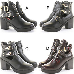 Womens-Chelsea-Booties-High-Heels-Block-Shoes-Platform-Cut-Out-Ankle-Boots-Size
