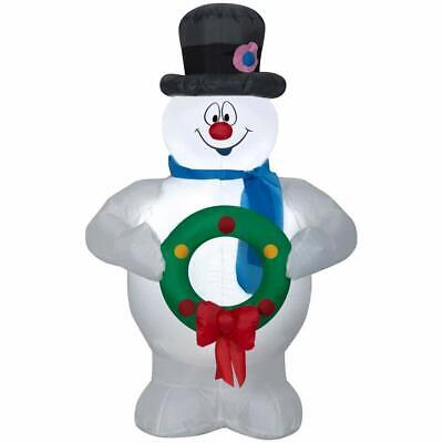 Gemmy Frosty the Snowman with Wreath 3.5 Ft Airblown Inflatable LED New