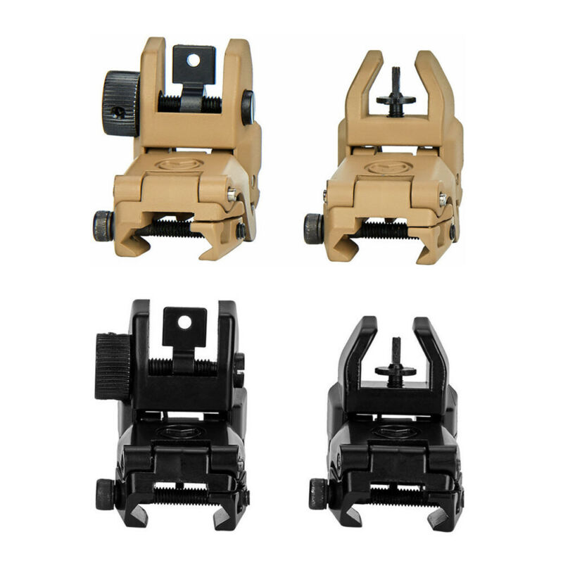 Premium Tactical Low Profile Flip-up Metal Sights Folding Front and Rear Set