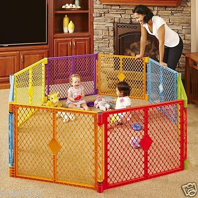 Big 8 Panel Wide Play Yard Playpen Baby Child Pet Dog Gate Large Secure Pen Safe