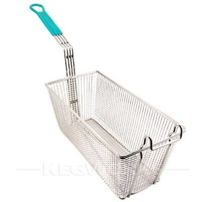 "Kitchen Heavy Duty Wire Mesh Deep Fry Basket 10"" Long Lasting Frame Green Handle"