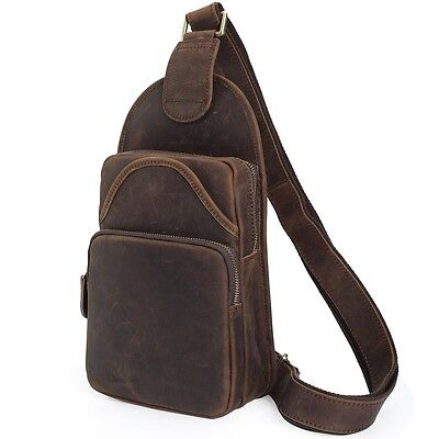 Men Vintage Genuine Leather Single Strap Messenger Bag Sling Chest Bag Backpack