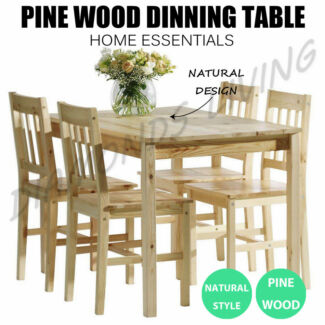 Wooden Color Pine Wood Dinning Table 4 Chairs