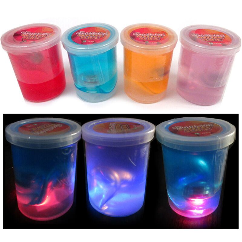 3 Pack Glitter Slime Fluffy Goo Crystal Flashing Kids Squeeze Colors DIY 14oz
