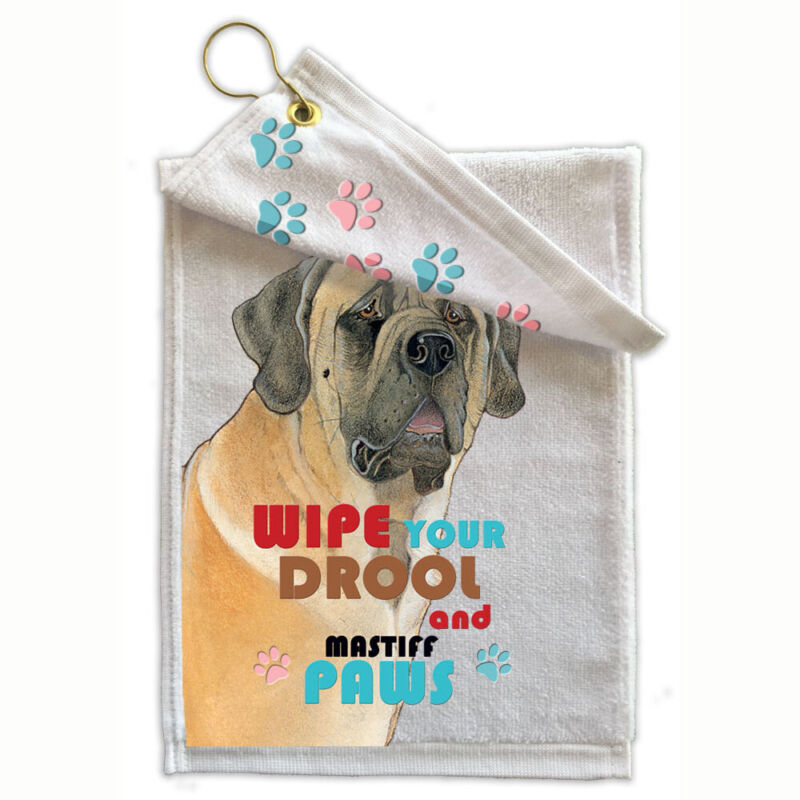 "Mastiff Paw-Wipe Towel 11"" x 18"" Grommet with Hook"