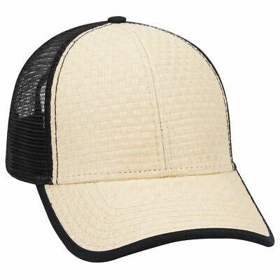 - Deluxe Khaki Straw Black Mesh low profile Snap Back Cap Mesh Trucker Hat