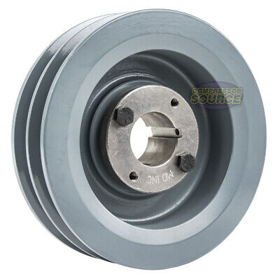 B Section Dual Groove 2 Pc 6 Pulley W 1-38 Sheave Shiv Cast Iron 5l V Belt